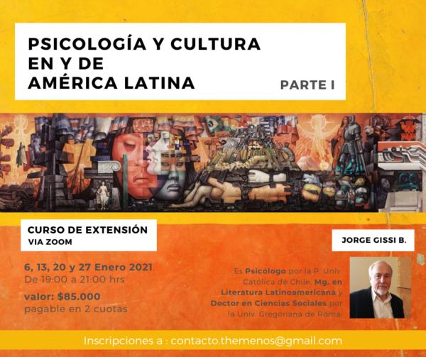 """Curso : """"Cultura y Psicología en y desde América Latina""""."""
